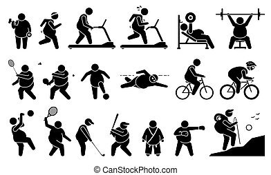 Fat man exercise at gym and playing sport for weight loss, fitness, and active lifestyle.