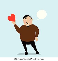 Fat man holds heart in his hand