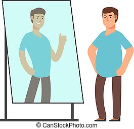 Fat man looking on strong and thin person reflection in mirror. Fitness goals vector concept