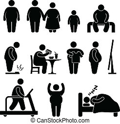 A set of pictogram representing fat man and family.