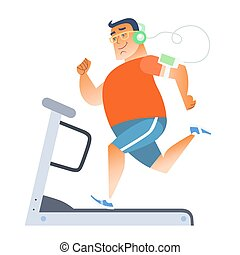 Fat man on a stationary treadmill listening to music on the ...