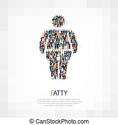 fat man people vector - Isometric set of fat, fat man, web...