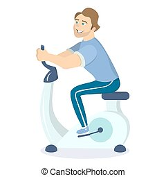 Fat man rides bycicle. - Fat man rides bycicle at the gym on...