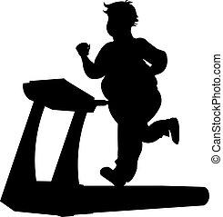Fat man running silhouette
