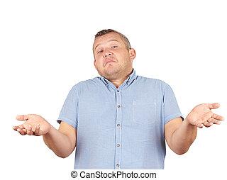 Fat man shrugging shoulders
