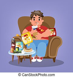 Fat man sitting in the armchair and eating fast food