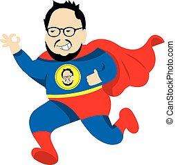 fat man super hero vector cartoon