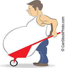 Vector caricature man slave of his belly