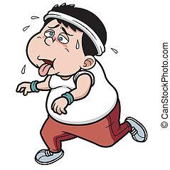 Vector illustration of fat man Jogging tired