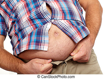 Fat man with a big belly.