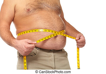 Fat man with a big belly. - Fat man holding a measuring tape...