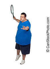 Fat man with a racket playing tennis