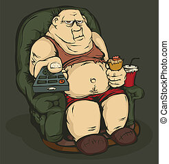 Fat man with a remote control - The fat guy is sitting in a...