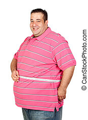 Fat man with a tape measure