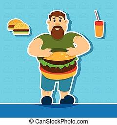 Fat Man With Big Abdomen Hamburger Junk Fast Food