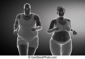 Fat man with fat woman running