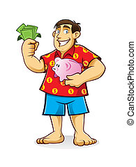 Fat Man with Piggy Bank - fat man is standing hugging piggy...