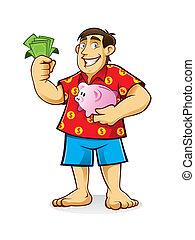 Fat Man with Piggy Bank - fat man is standing hugging piggy...