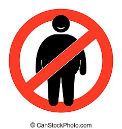 Fat man with restriction sign. Overweight man. Vector...