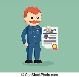 fat mechanic with award certificate