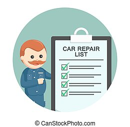 fat mechanic with car repair list in circle background