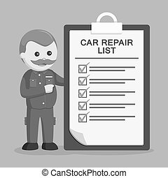 Fat mechanic with repair list clipboard