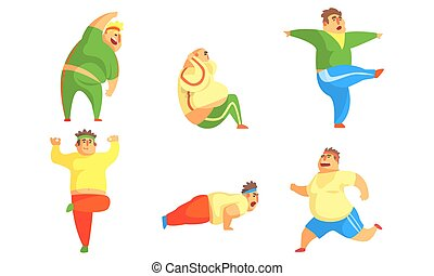 Fat Men Exercising in the Gym Set, Chubby Male Characters Doing Workout Vector Illustration