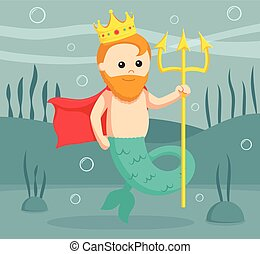 fat mermaid king with trident