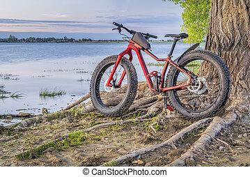 fat mountain bike on a lake shore