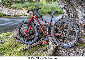 fat mountain bike on a river shore