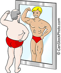 a fat man who sees himself differently in the mirror