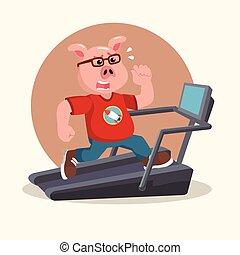 fat nerd pig running on treadmill