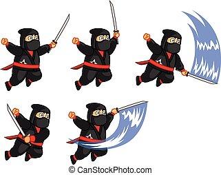 Fat Ninja Animation Sprite - Vector Illustration of Fat...
