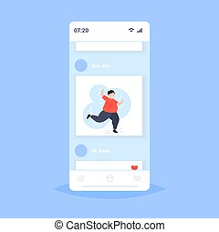 fat obese man dancing male dancer overweight guy having fun weight loss obesity concept smartphone screen online mobile app flat full length