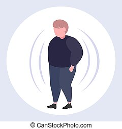 fat obese man with big belly overweight guy standing pose obesity concept flat full length