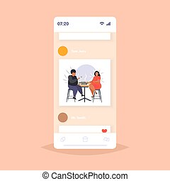 fat obese man woman eating sushi overweight african american couple sitting at table having lunch obesity unhealthy nutrition concept smartphone screen online mobile app flat full length