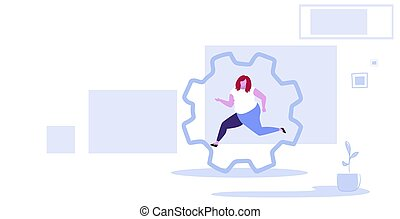 fat obese woman running in cog wheel hardworking process concept over size girl office worker inside corporate machinery gearwheel cabinet interior sketch horizontal full length
