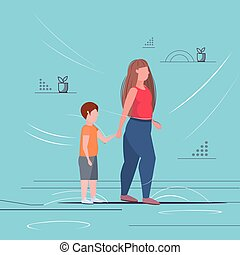 fat obese woman with child holding hands overweight mother and son standing together having fun obesity unhealthy lifestyle concept flat full length