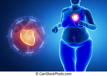 Fat obese woman with heart problem