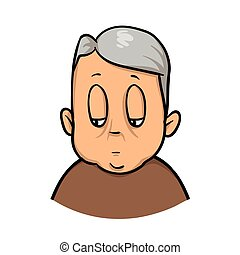 Fat old man. Cartoon design icon. Flat vector illustration. Isolated on white background.