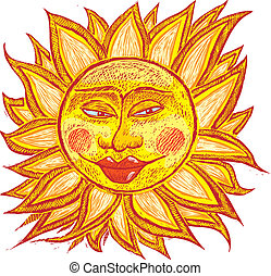 Fat old sun - Italian ancient sun in old engrave style.