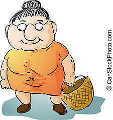Fat old woman illustration - Fat motherly old woman with...