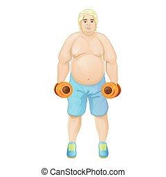 Fat overweight sport man hold dumbbells, cartoon guy over...