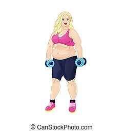 Fat overweight sport woman hold dumbbells