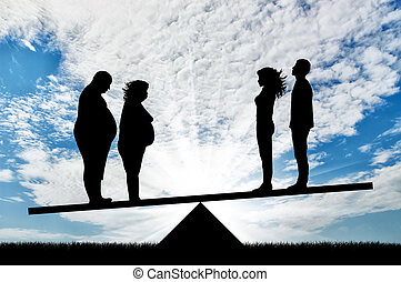 Fat man with fat woman and thin pair stand on scales on background sky. Concept obesity