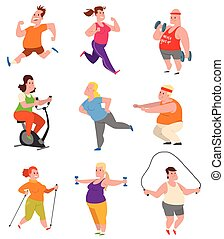 Fat people fitness gym vector. - Vector sport and fat people...