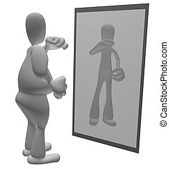 Fat cartoon person looking at thin reflection in mirror