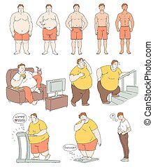 Fat person weight loss comparison drawing