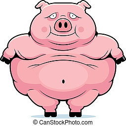 Fat Pig - A happy cartoon fat pig standing and smiling.