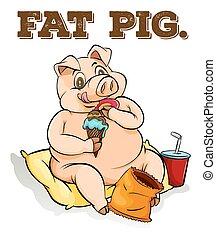 Fat pig eating ice cream